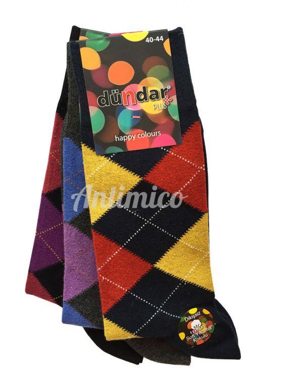 Aнтибактериални мъжки чорапи цветни карета 3бр.