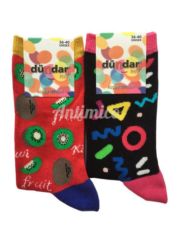 Антибактериални дамски чорапи киви и кръгчета 2бр.