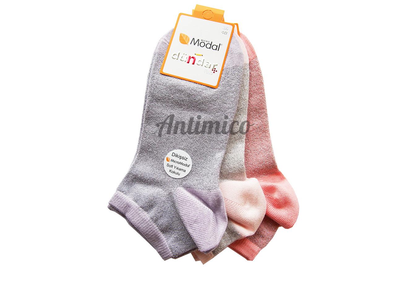 Антибактериални къси дамски чорапи от модал с лъскав ефект 3бр.