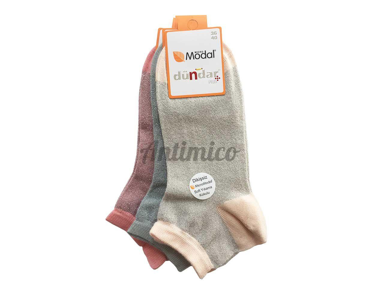 Антибактериални лъскави дамски чорапи от модал - къси 3бр.